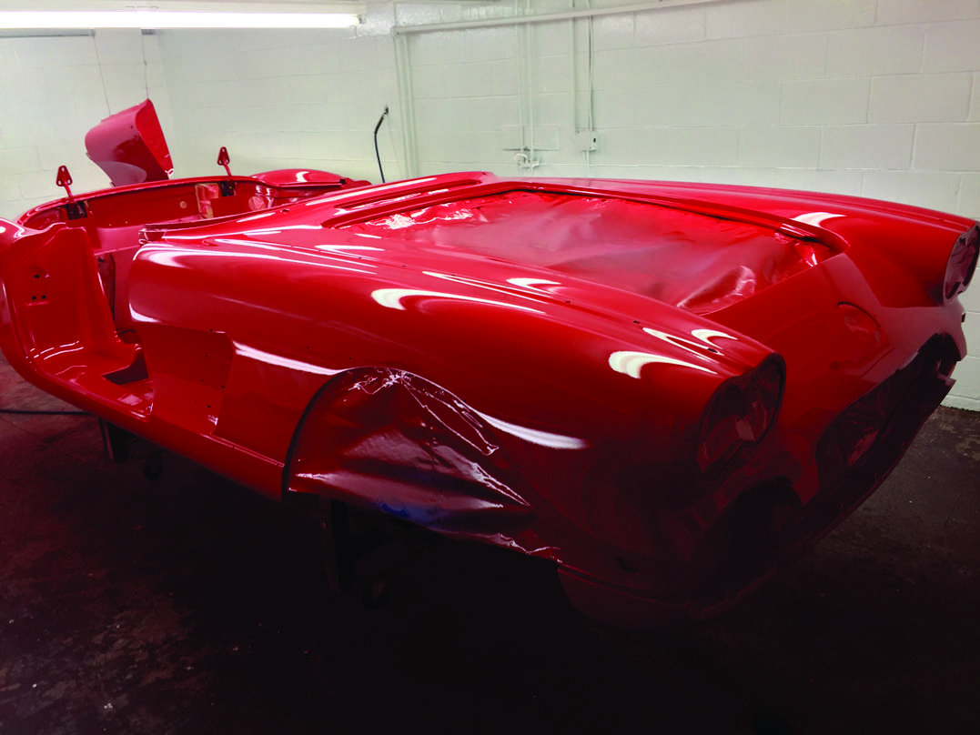 Body masked and painted front - 1959 Corvette Restoration