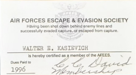 Sergeant Walter E. Kasievich Air Forces Escape and Evasion Society Card