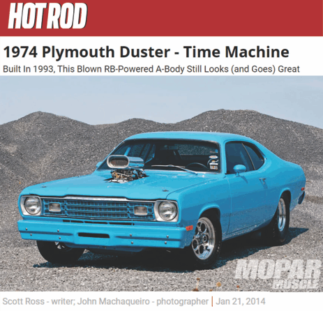 Hot Rod Magazine Cover featuring Karnuts 1974 Plymouth Duster